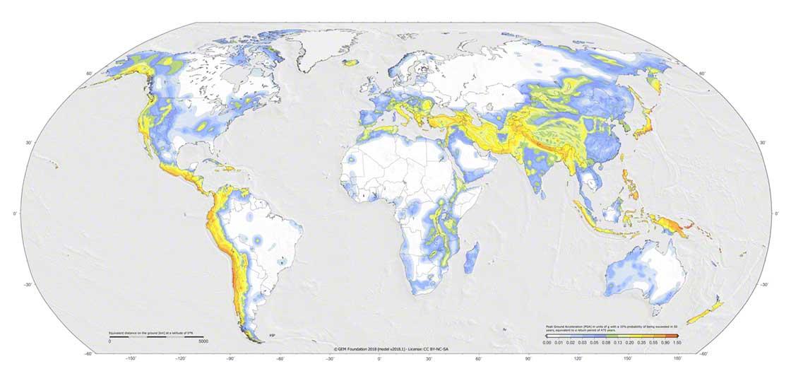 Zonas con mayor probabilidad de que ocurran terremotos en la Tierra. Fuente: Global Earthquake Model