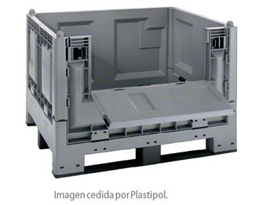 Contenedor de plástico construido con criterios de europaleta.