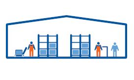 Tienda integrada en el almacén con picking realizado por el personal