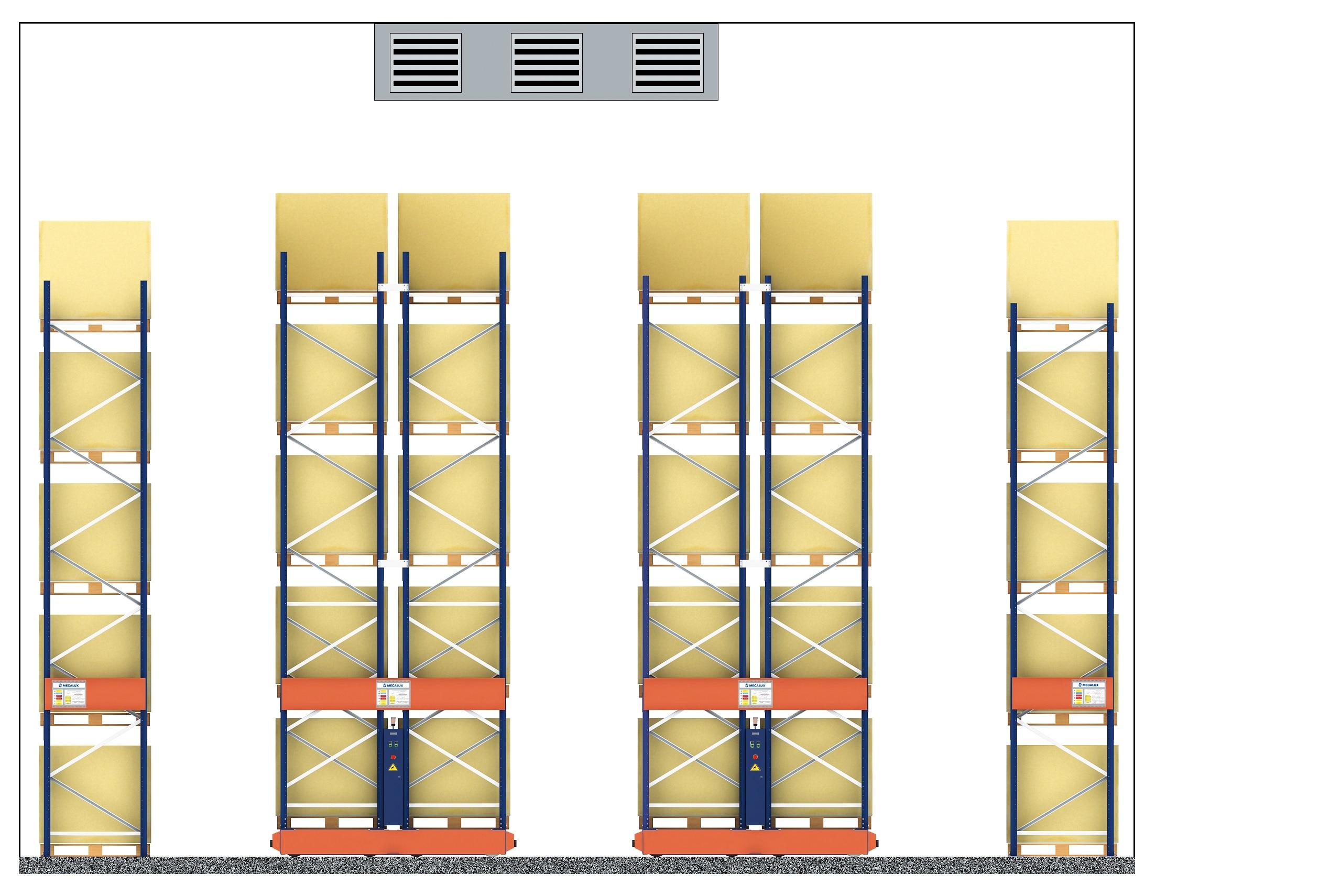 Dos cámaras de congelación de Euroambrosías en Madrid con estanterías Movirack