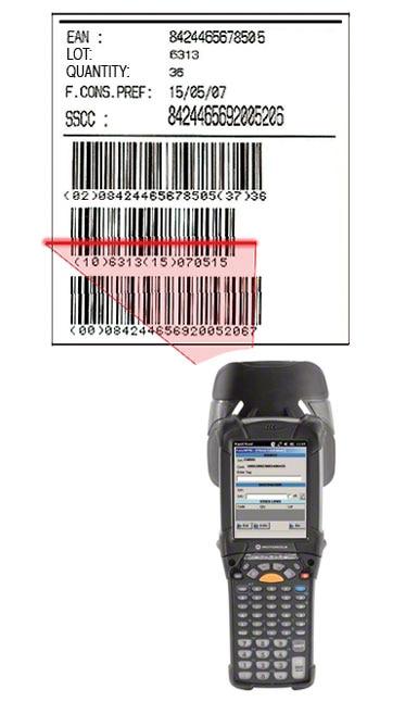 Ejemplo de una etiqueta con código de barras EAN-128 en la que se identifica la paleta, el producto que contiene y las características del mismo.